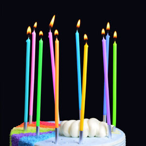 Image Is Loading Cake Topper 10x Rainbow Long Thin Candle Colourful
