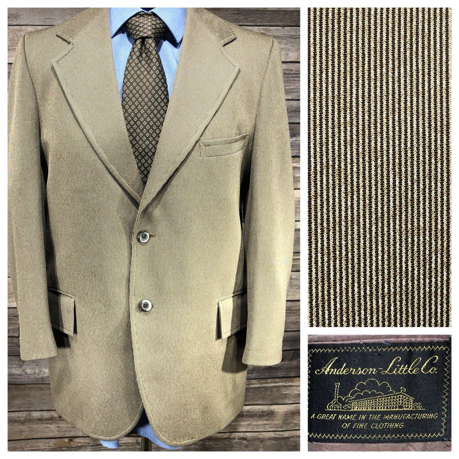 VTG ANDERSON LITTLE Brown Pinstripe Blazer Sport Coat, 2 Button, Sz 40R