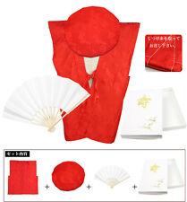Japanese Traditional 60th birthday Anniversary Gift Kimono Red Best Hat Sensu