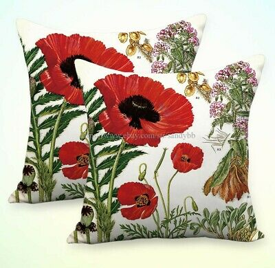 Set Of 2 Pillowcase And Throws For Couches Poppy Papaver Flower Cushion Covers Ebay