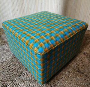Fab-Vintage-Retro-Square-Low-Footstool-Pouffe-Blue-amp-Mustard-Wool-on-Castors