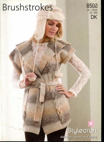 "Stylecraft Knitting Pattern 8508 Long Belted Collared Waistcoat DK Ladies 32-42/"""
