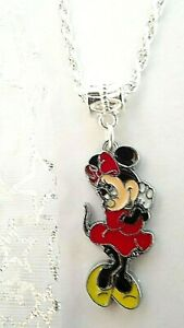 Minnie  MOUSE 16 INCH  NECKLACE STRONG SILVER PLATED  GIFT BOX BIRTHDAY PARTY