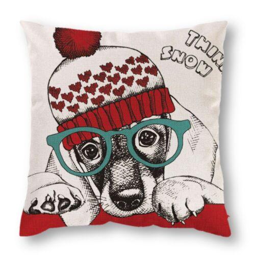 "18/""X18/"" Christmas Santa Claus Cushion Cover Reindeer Dog Pillow Case Home Decor"