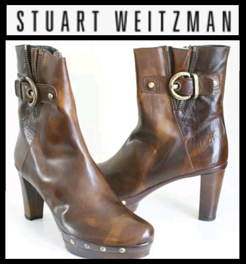 450 Stuart Weitzman Mustang marron cloutées hauteur de mollet en cuir démarrageie Bottes  10.5 M3020