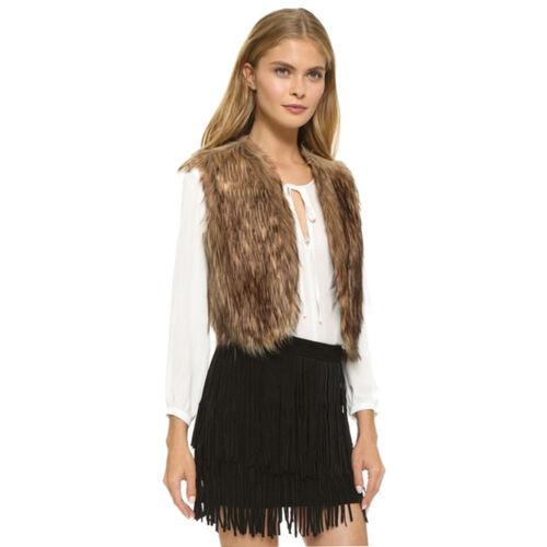 Winter Autumn Women Ladies Sleeveless Vest Waistcoat Long Hair Jacket Outerwear
