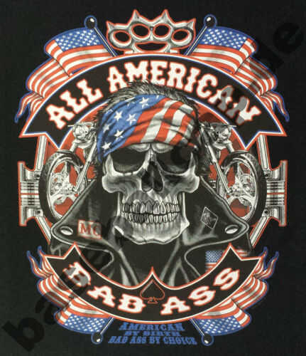 T-Shirt 755 BAD ASS BIKER SKULL HOTROD PINUP ROUTE66 V8 USA CUSTOM ROCKABILLY