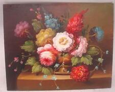 "Hand Painted Oil Painting on Wooden Panel - Still Life Floral Scene - 10"" x 8"""