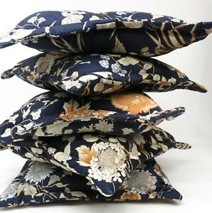 Vintage-Lot-of-5-Navy-Blue-Brown-Floral-Botanical-Print-Throw-Couch-Pillows