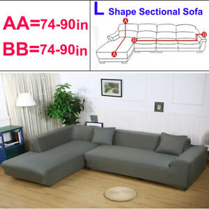 Incredible Details About 2Pcs Sofa Cover Couch Slipcover Gray For L 3 3 Seater Sectional Corner Sofa Usa Alphanode Cool Chair Designs And Ideas Alphanodeonline