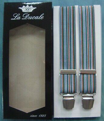 Bretelle Bretella Uomo La Ducale Cm.120 Made In Italy 4 Clips Colore - Azzurro Rafforzare L'Intero Sistema E Rafforzarlo