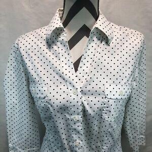 Chico's White Black Diamond Print 3/4 Sleeve Button Down Blouse Pockets Sz 1 M5
