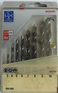 Lux-tools-kit-punte-legno-8-pezzi-Profi-4-3-4-5-6-7-8-9-10-mm-trapano-CV-NEW