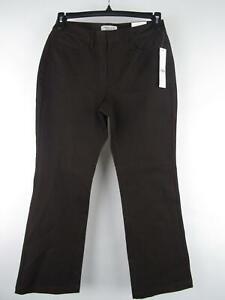 Coldwater-Creek-NEW-Petite-Women-039-s-sz-8P-Brown-Cotton-Natural-Fit-Bootcut-Pants