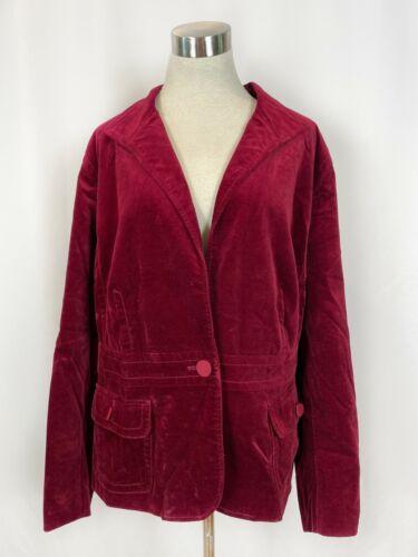 Talbots Petite Woman Burgundy Velvet Blazer Jacket