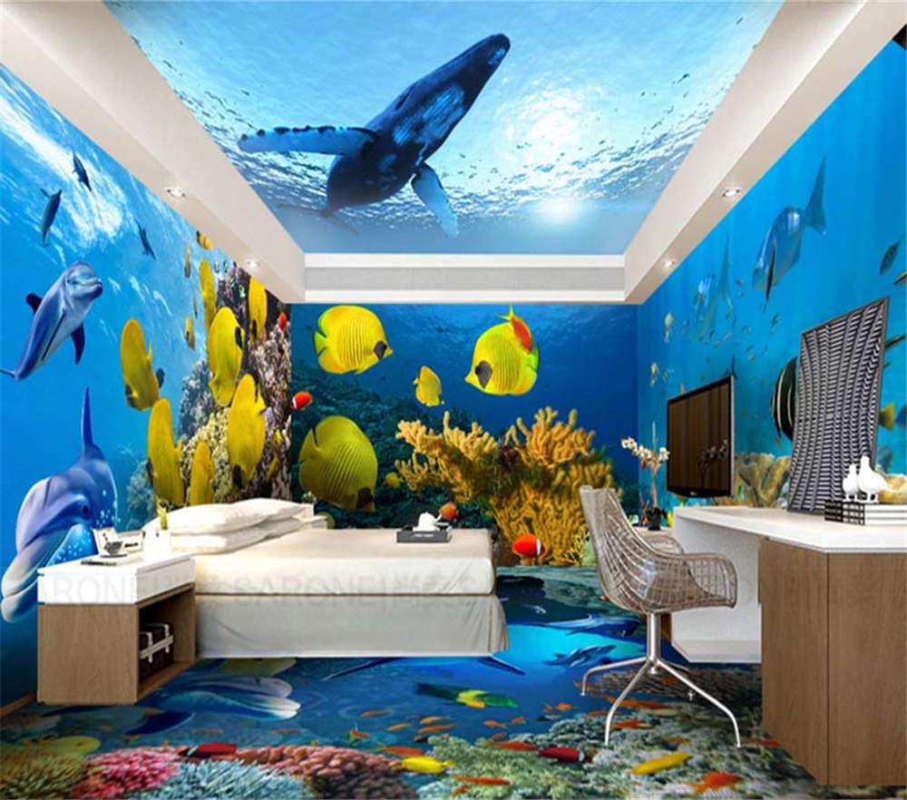 rot Weiß Coral Fish 3D Full Wall Mural Photo Wallpaper Printing Home Kids Decor