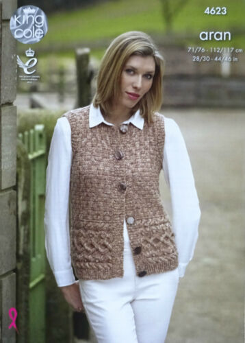 KNITTING PATTERN Ladies Sleeveless Cable Waistcoat /& Jumper Aran King Cole 4623