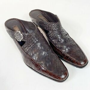 BRIGHTON-Twain-Mules-Heels-Brown-Leather-Shoes-Woven-amp-Croc-Embossed-Sz-10M