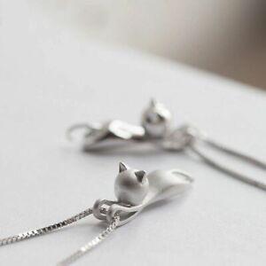 925-Sterlingsilber-Damen-Halskette-Halsketten-Anhaenger-Katze-Cat-Silber-Filigran