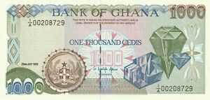 Vintage Ghana Banknote 1993 1000 Cedis Pick 29b Diamonds UNC US Seller