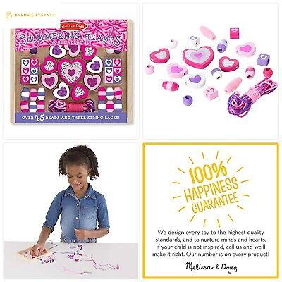 Melissa /& Doug Purple Heart Wooden Beads Bracelet Necklace Girl Jewellery Toy