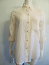 Marc Jacobs Shirt Top S Ivory Cotton Silk Button Roll-Up Sleeve LOGO Buttons NUC