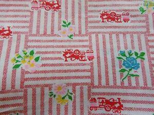 Details about WTW Fabric Vintage Floral Flower Train Novelty Retro Trains  Mod BTY Quilt