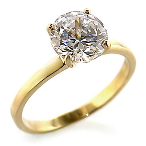 Bague luxe plaqué or 18k femme chic moderne serti zirconium diamant solitaire