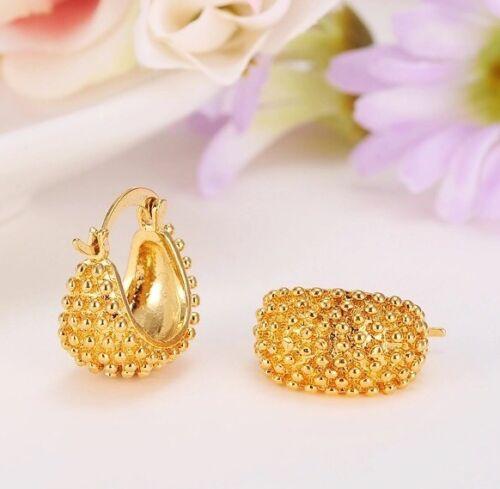 Oro Amarillo 24K 18 mm Señoras Aro Pendientes para Dama de honor novia impresionante Caja De Regalo