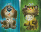 Vintage Swap / Playing Card - 2 SINGLE - HALLMARKS - CAT AND DOG - GROOVY RETRO
