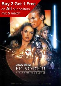 Details about Star Wars Episode II Attack Of The Clones Movie Poster A5 A4  A3 A2 A1