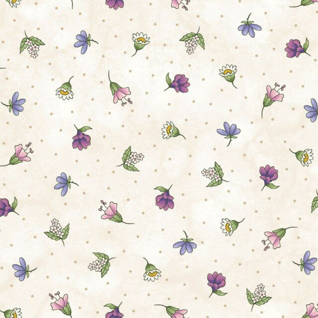 Fabric Flowers Herb Blossoms on Cream Cotton by the 1//4 yard