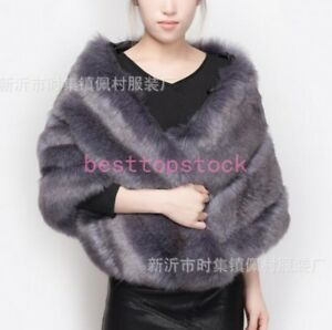 Full De Poncho De Fox Real Femmes Veste Cadeaux Cape Pelt Outwear Sz Noël Fourrure Manteau 5txaq