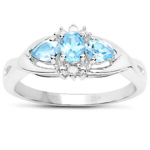 9Ct-Oro-Blanco-Topacio-Azul-amp-Diamante-Anillo-de-Compromiso-Talla-H-i-J-k-L