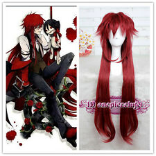 90cm Long Black Butler Grell Sutcliff Deep Red Cosplay Wig CC170 +Free Wig Cap