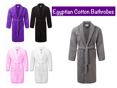 100% Egyptian Cotton Bath Robes Terry Towelling Dressing Gown Unisex One Size
