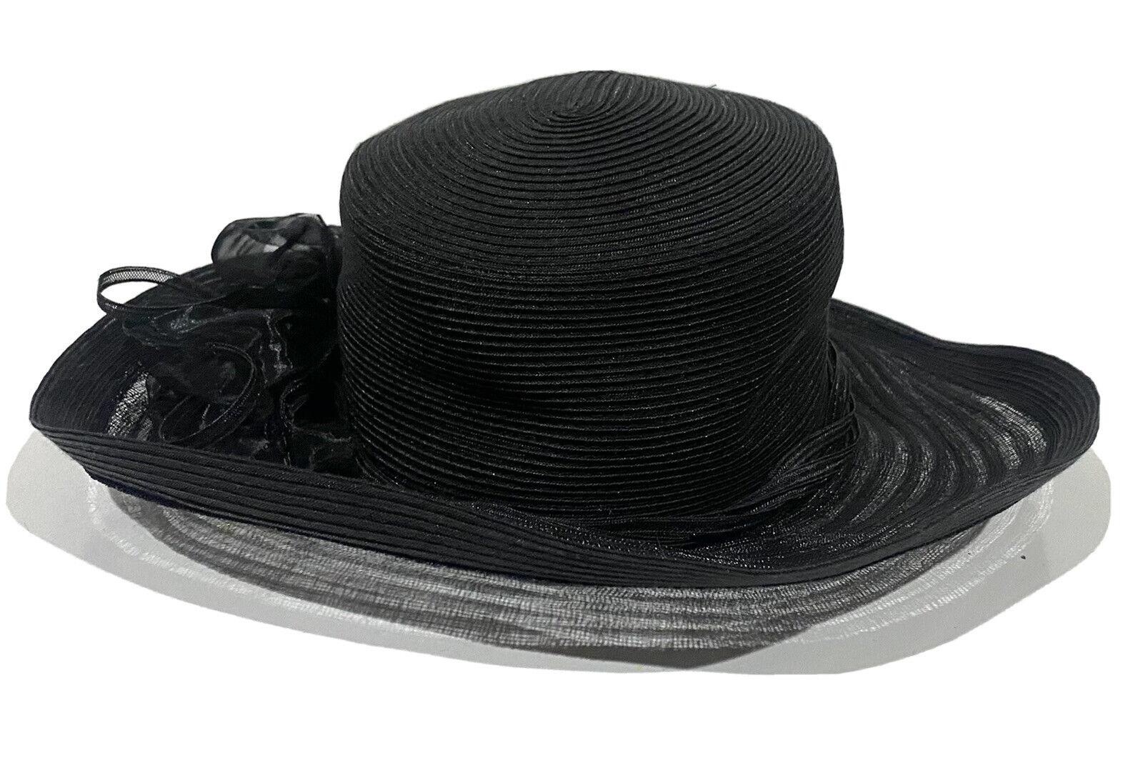 Daniele Meucci Hat Womens Black Wide Brim Floral … - image 1