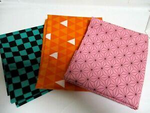 3pcs Japanese Cloth 54㎝ 30cm Ichimatsu moyo asanoha Uroko Made in japanAA