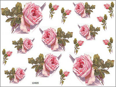 VinTaGe IMaGe FaBuLouS PinK KLeiN RoSeS & BuDs SHaBbY DeCALs