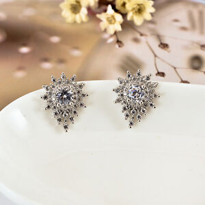 New-925-Sterling-Silver-Drop-Style-Crystal-Stud-Earrings-Jewelry-Gift-Vintage