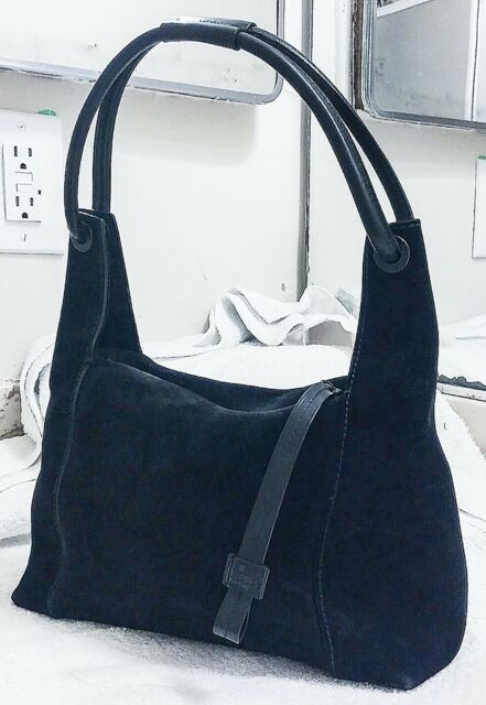 Vintage Gucci 90 s Black Suede Leather Small Loop Handle Hobo Bag Purse  Women s 0f8dc9686f13e