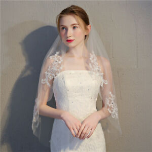 1-Tier-White-Ivory-Wedding-Veil-Short-Bridal-Veil-Sequins-Lace-Edge-With-Comb