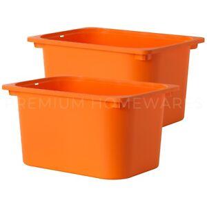 Image is loading 2-x-IKEA-TROFAST-Orange-Plastic-Storage-Boxes-  sc 1 st  eBay & 2 x IKEA TROFAST Orange Plastic Storage Boxes (42x30x23cm) | eBay