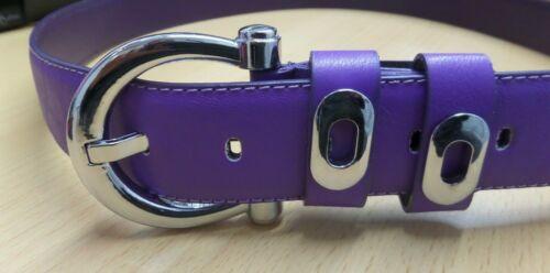 4 Sizes Women Ladies New Plain Purple Matte Belt With Silver Buckle Detail 015