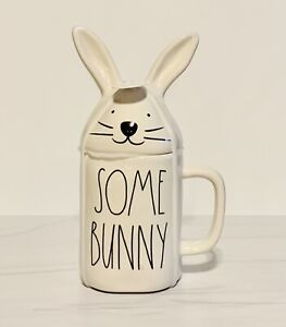 """Rae Dunn 2-Sided """"SOME BUNNY/LOVES YOU"""" Easter Mug with Bunny Ears Topper."""