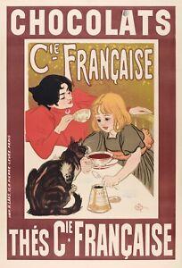 Affiche Originale - Théophile Steinlen - Chocolats et Thés - Chats - 1895