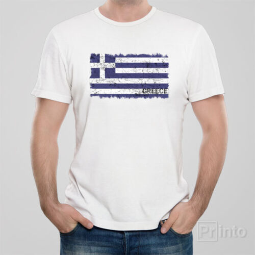 GREEK flag Funny novelty T-shirt in grunge style GREECE