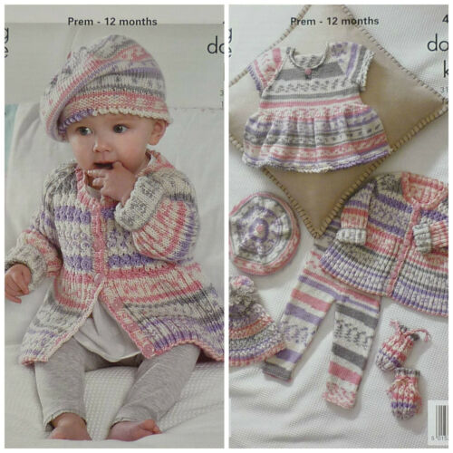 KNITTING PATTERN Baby Cable /& Rib Coat Beret Hat Top /& Mitts DK King Cole 4011