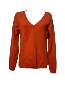 printemps 100% cashmere orange V-neck long sleeve sweater Women's Size S