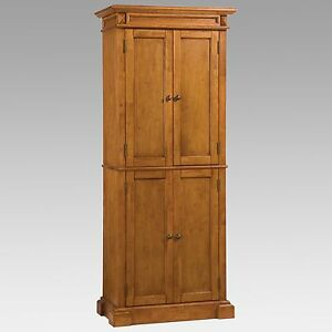 Image Is Loading Oak Finish 4 Door Pantry Cabinet Cupboard Home